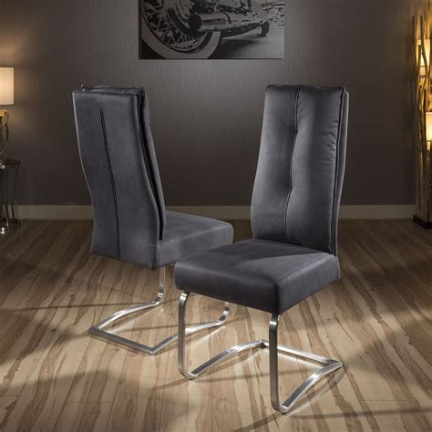 Grey Comfy Chair Pair Of 2 Large Comfy Padded Dining Chair Grey