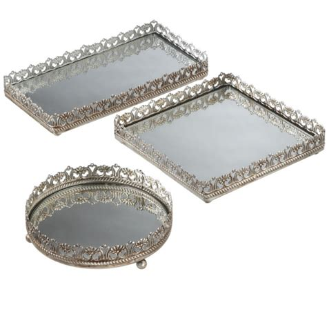 antique chagne vanity tray set 3 metal and mirror tray