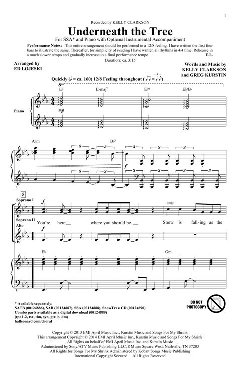 underneath the tree arr ed lojeski choral ssa sheet