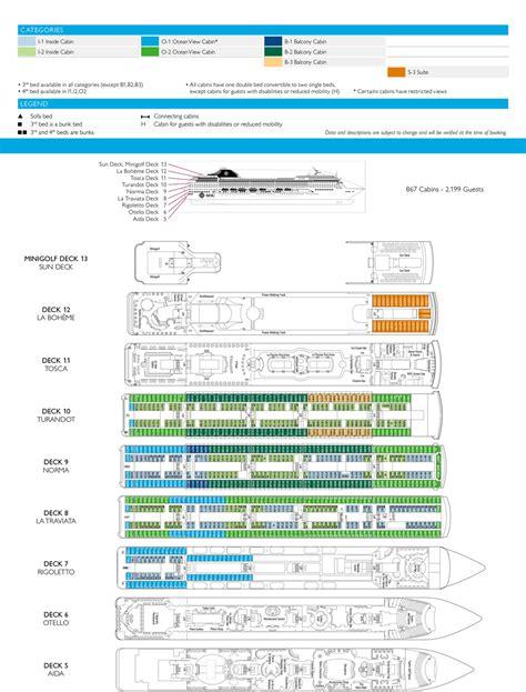 msc opera cabin layout msc opera cruise ship deck plan