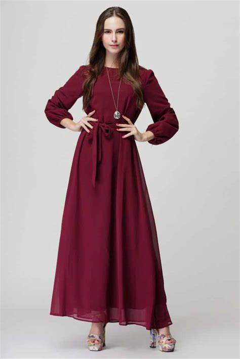 Baju Muslim Simply Byna Dress baju gamis maroon simple cantik 2016 jual model