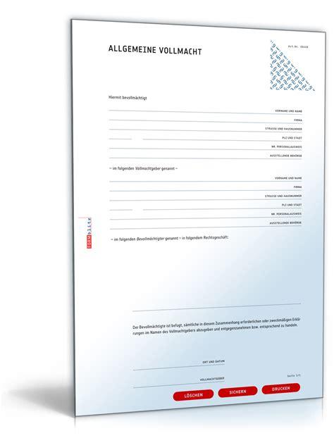 Word Vorlage Unterschriftenliste Allgemeine Vollmacht