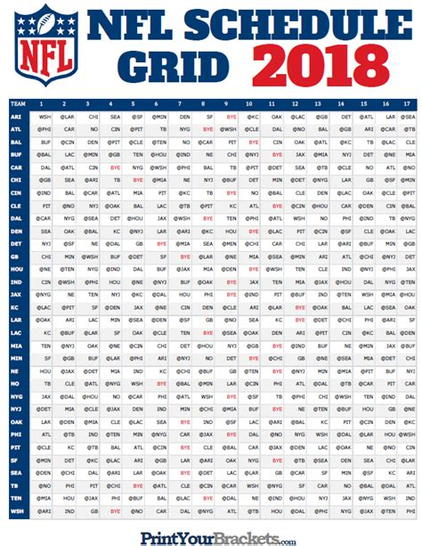 printable entire nfl schedule nfl full season schedule grid 2018 printable
