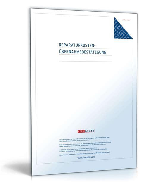 Kostenlose Vorlage Kündigung Versicherung reparaturkosten 220 bernahmebest 228 tigung vorlage zum