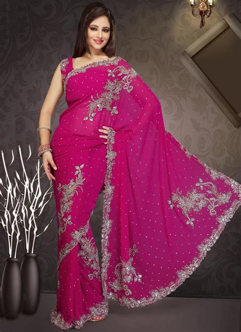 Pink Saree alluring pink stones studded georgette saree