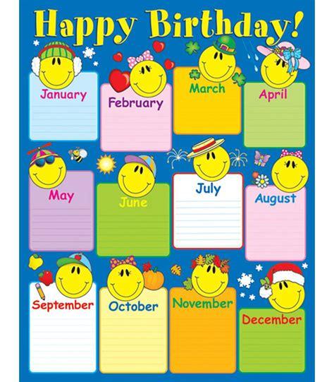 smiley face birthday chart grade k 8 carson dellosa