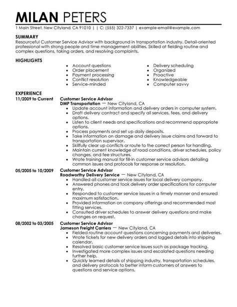 Service Advisor Sle Resume by Best Sales Customer Service Advisor Resume Exle Livecareer