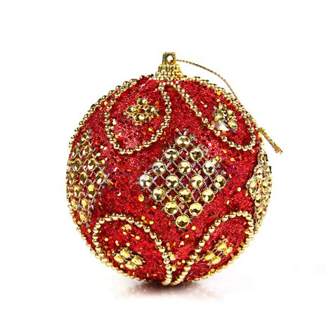 red rhinestone christmas tree baubles xmas decoration