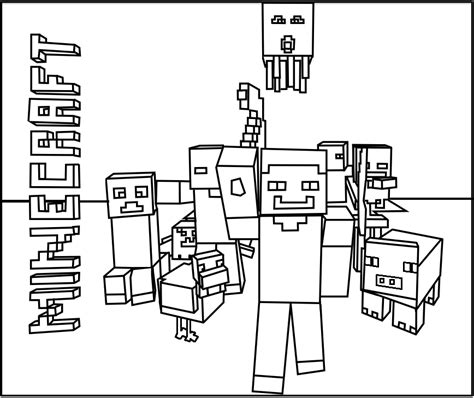 minecraft coloring pages all mobs printable minecraft mobs coloring pages coloring kids