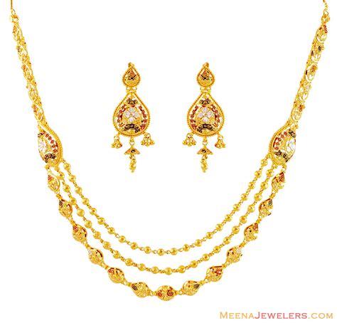 22k three tone layered necklace set stgo16073 22kt