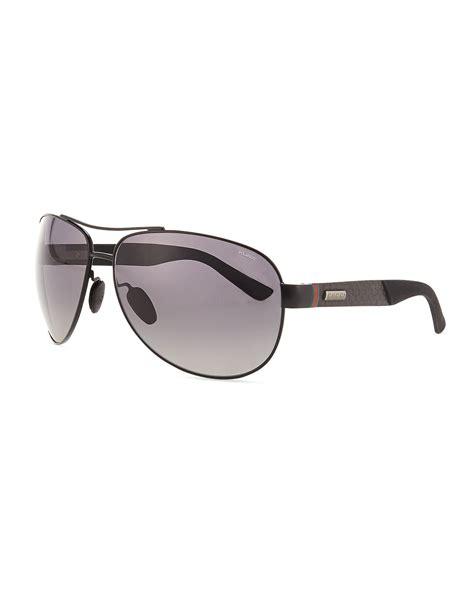 Sunglasses Gucci Original 1 lyst gucci stainless steel aviator sunglasses in black for
