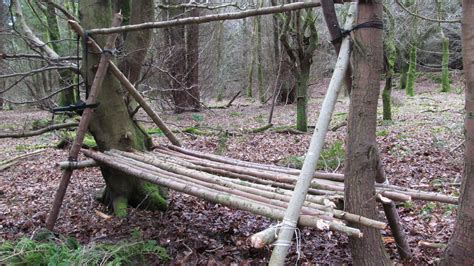 buzzard bushcraft a frame shelter raised bed