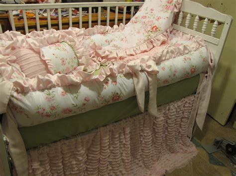 custom crib set pinks and grey but shabby chic style 6pc for