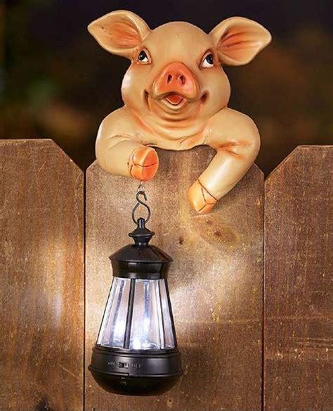 best lighted pig yard art piggy solar light pig lantern fence lawn ornament decor outdoor yard garden path