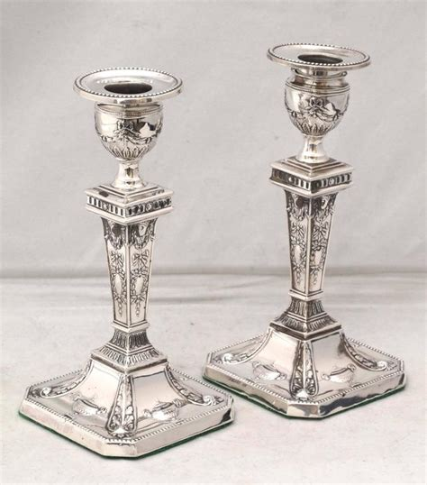 silver candlestick by loofs adam pair of edwardian sterling silver adams style candlesticks