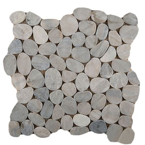 Emser Tile Venetian Flat Pebble Mosaic Blend Silver