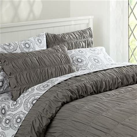 grey ruched comforter taupe i love and gray bedding on pinterest