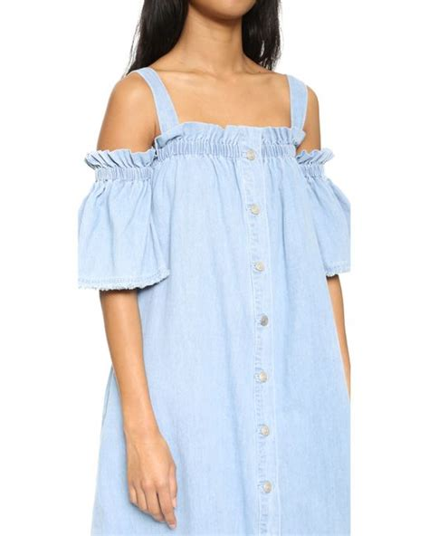 Shoulder Denim Dress Light Blue Blue sjyp the shoulder denim dress in blue light blue lyst