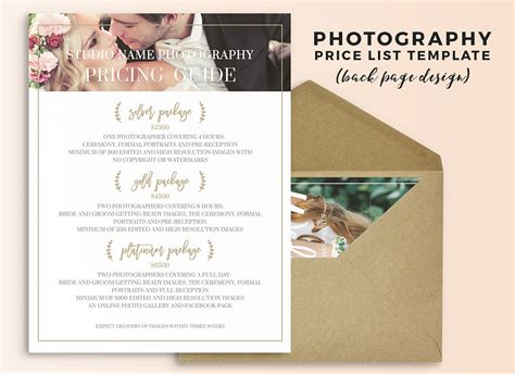 photography price list template wedding photography price list photoshop template on behance