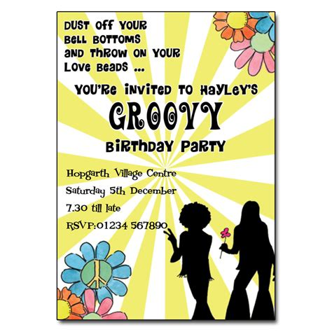 60s theme party guide party ideas home evite groovy party invitation personalised party invites