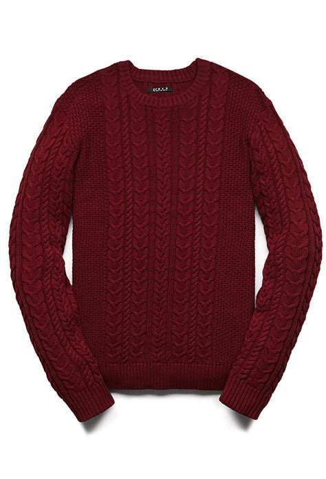 mens chunky knit sweater 21men chunky cable knit sweater in for burgundy