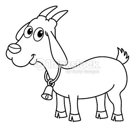 herbivorous animals coloring page goat with a bell for coloring vector art thinkstock