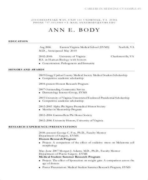 cv template word medical school medical student cv sle 7 exles in word pdf