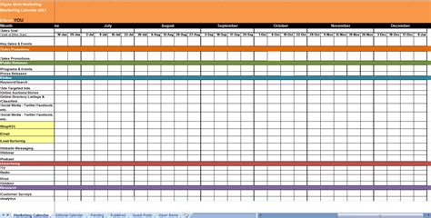 marketing activity calendar template marketing calendar s m a r t goals strategy checklist