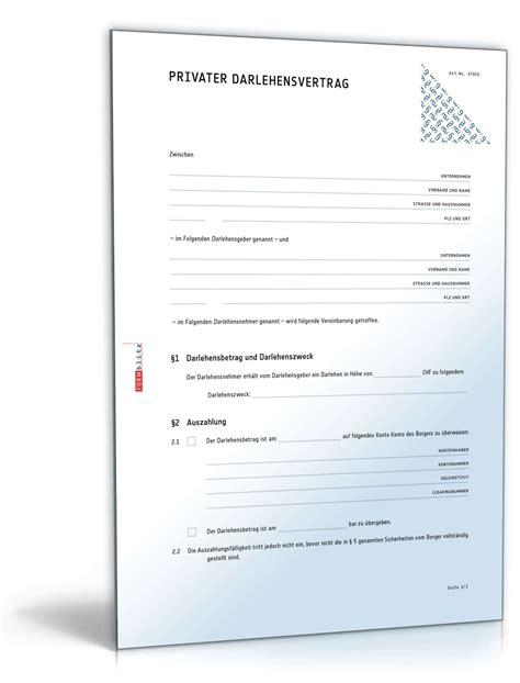 Muster Privater Darlehensvertrag privater darlehensvertrag muster vorlage zum