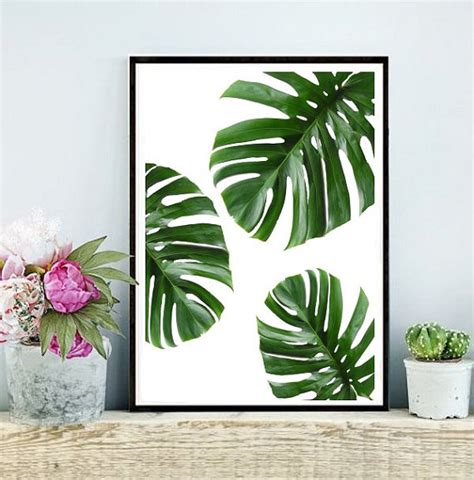 Green Wall Decor | tropical leaf printable art monstera leaves by