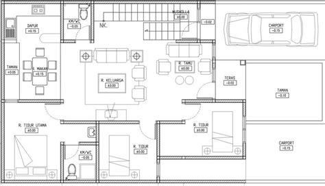 denah rumah minimalis 1 lantai 3 kamar tidur garasi model denah rumah dan desain gambar