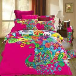 unique bedding unique design colorful peacock print bedding set