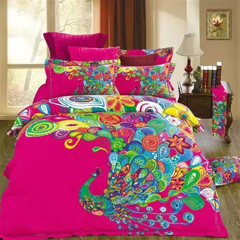 colorful bedding sets unique design colorful peacock print bedding set queen size 100 cotton fabric home