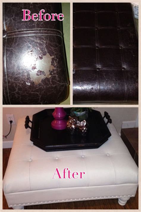 Before And After Outdated Peeling Leather Ottoman Sanded Leather Sofa Paint Spray