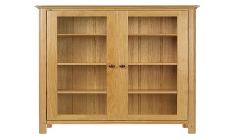 Wooden shelves with doors, solid wood bookcase with glass