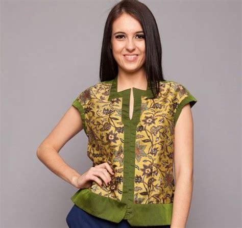 Blouse Kombinasi Motif B0119 Atasan Wanita Fashion Motif Bunga2 model baju atasan batik wanita nan stylish