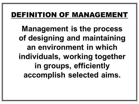 management description definition of management ppt