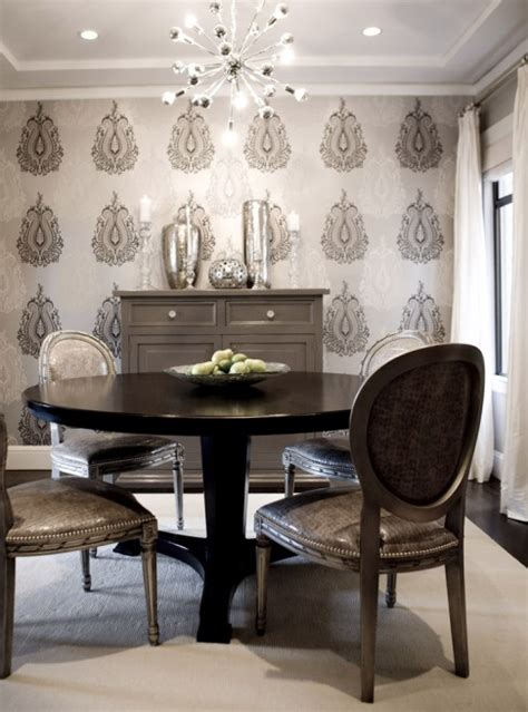 dining room accent wall metallic wallpaper contemporary dining room