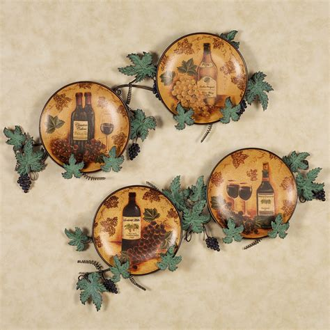 vino wine and grapes decorative plate set