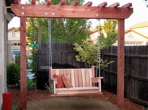 swing arbor plans how to build a freestanding arbor swing how tos diy