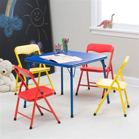 Childrens Folding Table And Chairs Set Showtime Childrens Folding Table And Chair Set Multi Color Tables And Chairs At Hayneedle