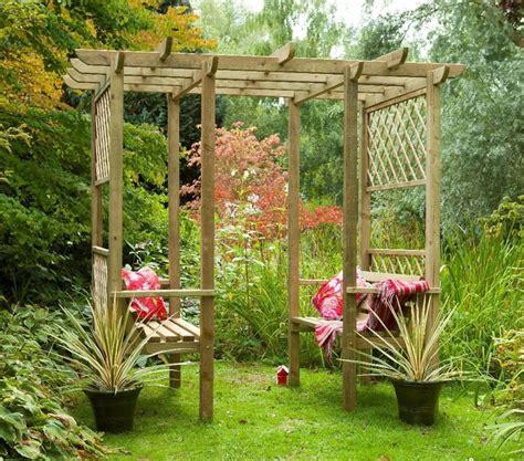 garden bench pergola classic walkthrough double bench wooden lattice garden