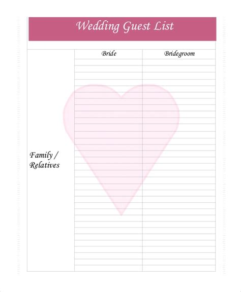 Wedding Guest List Template 9 Free Word Excel Pdf Documents Download Free Premium Templates Wedding Guest List Template Pdf
