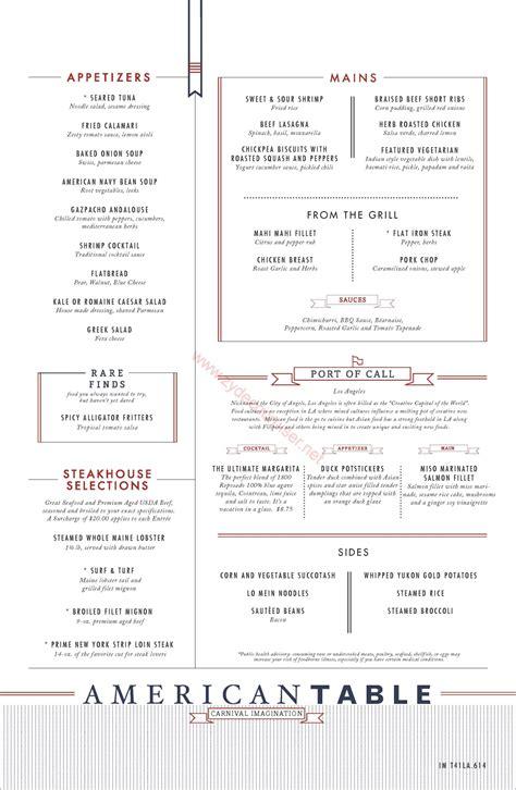 the table menu carnival imagination inspiration american table mdr dinner menu la