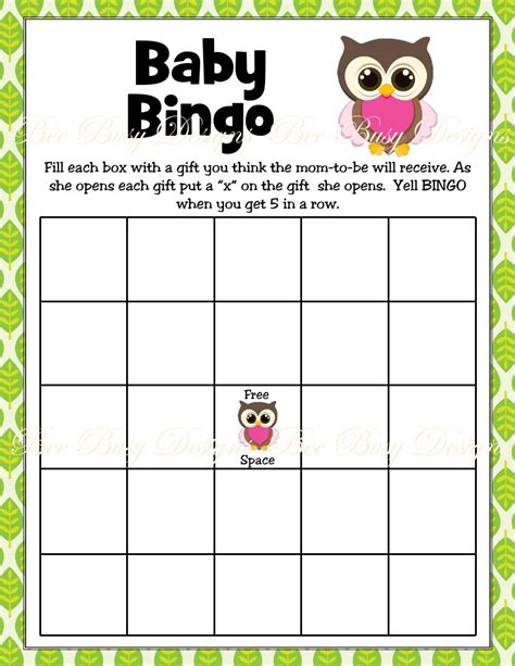 printable pink girl owl woodland baby shower bingo game