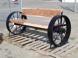 bench wheel wagon wheel bench railroad spike