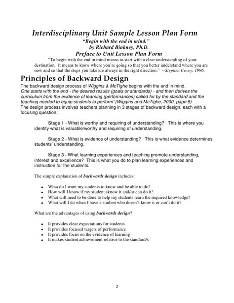 interdisciplinary unit plan template backwards by design in the exemplary middle school