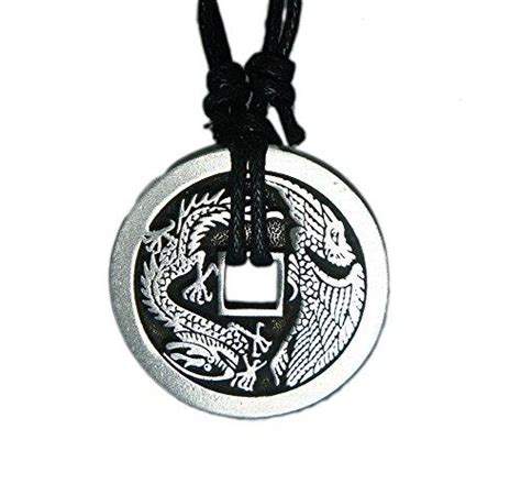 chinese lucky coin charm pewter pendant rope necklace