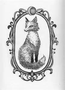 fox in frame dotwork tattoo sketch best tattoo ideas gallery