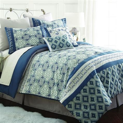 geometric comforter sets cassia blue geometric 8 piece comforter set